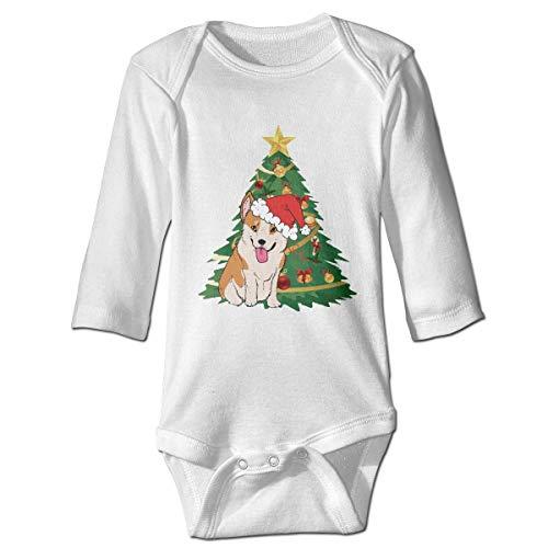 WBinHua Bodysuits Baby Body, Christmas Corgi Santa Hats Baby Newborn Long Sleeve Onesies Bodysuits