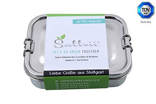 Sattvii Edelstahl Eco Lunchbox & Brotdose | TÜV geprüft | Größe M | 800 ml | Kinder | Outdoor| Meal Prep Container | Umweltfreundliche Brotbox | Essensbox frei von BPA