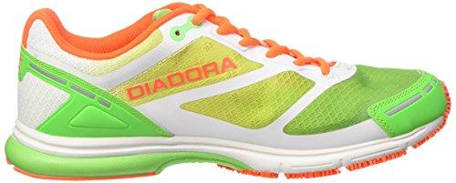 Diadora Mythos Racer Evo, Scarpe da Corsa Unisex – Adulto Bianco (Bianco/Giallo Fluo/Verde Baia)