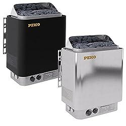 PEKO Saunaofen 4,5 kW - 9,0 kW mit integriertem Steuergerät, Farbe: Schwarz oder Edelstahl