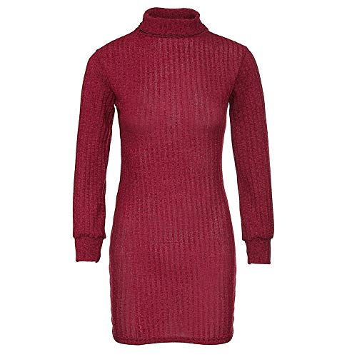 OSYARD Pull Femme Chic Casual Mode Robe Vintage à Manche Longues Col Haut Ultra Sexy Pull Dress Automne Hiver