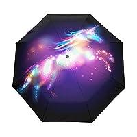 Bennigiry Unicorn Stars Poster 3 Folds Auto Open Close Umbrella, Compact Windproof Portable Durability Travel Rain Umbrella Easy Carrying