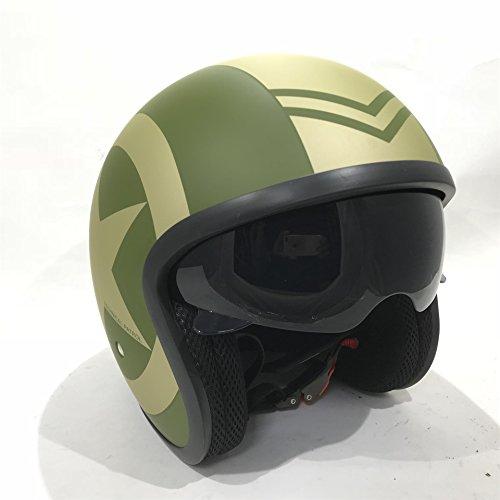 VIP V06 Motorrad JETHELME Motorradhelm Open Face Rollerhelm offener Helm Touren Vintage Jet Helm mit Sonnenblende, ECE Zertifiziert, (Matt Grun Star,M)
