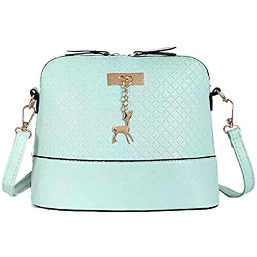 Dorical Kleine Umhängetasche für Damen Frauen Mini Crossbody Bag mit PU Schulterriemen/PU Leder Schultertasche - Messenger Handtasche mit Reißverschluss Deer Toy Shell Shape Ausverkauf(Grün)