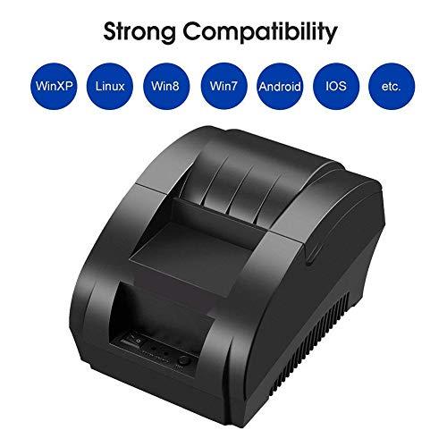 Usb-barcode-drucker (FENGT Kleiner Tragbarer USB-Thermischer Beleg-Drucker Kompatibel Mit Bill-Karten-Barcode POS/ESC 58Mm, Schwarz)