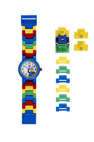 LEGO Classic 8020189 Kinder-Armbanduhr mit Minifigur und Gliederarmband zum Zusammenbauen , schwarz/gelb , Kunststoff , Gehäusedurchmesser 28 mm , analoge Quarzuhr , Junge/ Mädchen , offiziell