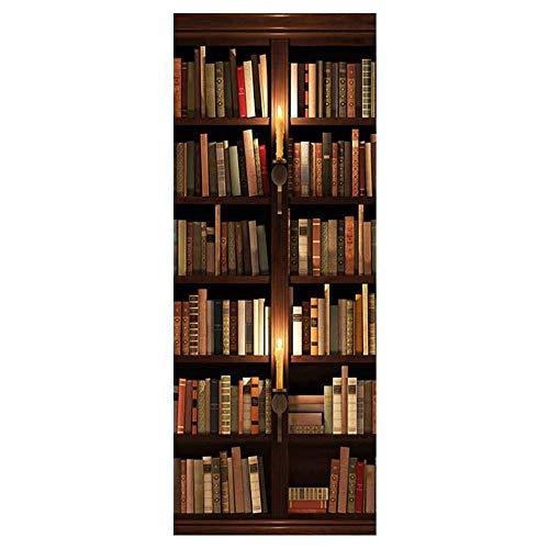 3D Tür-Aufkleber-Bücherschrank, selbstklebender Wandtapeten-Vinylaufkleber, wasserdichtes abnehmbares 77X200Cm -