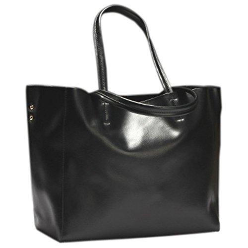 Remeehi Ladies Fashion Bovini nascondere Borse grandi dimensioni una borsa a tracolla, Black (bianco) - JXQ0695-6 Black