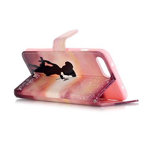 Etsue für iPhone 7 Plus Rose Blumen Ledertasche Lederhülle Flip Cover Case Muster, Bunte Retro Vintage Painted PU Leder Brieftasche Schutzhülle Tasche Wallet Case Handyhüllen Etui Schale im Bookstyle  Mädchen Löwenzahn