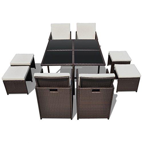 LD Poly Rattan Gartenmöbel Essgruppe Gartengarnitur Set Sitzgruppe Sessel Lounge