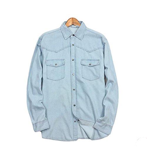 Pajamas giacca casual camicia della molla della camicia di jeans e l'autunno allentato dei grandi uomini di dimensioni,blue-xxxxxl