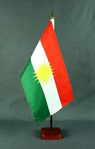 Tischflagge Kurdistan 15x25 cm mit Tischflaggenständer 37 cm aus Holz, sehr standfest