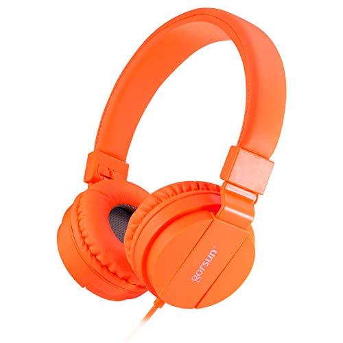 Onta® cuffie per bambini, pieghevoli leggere on ear auricolari per bambini ragazzi e ragazze, comode audio cuffie per bambina per cellulare/smartphone /tablet/ mp3-arancione