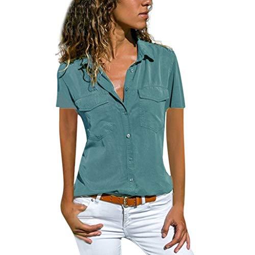Momoxi 2019 Sommer Frauen Causal Feste Kurze Hülse drehen unten Kragen-Taschen Knopf-Hemd-Oberseiten um,Tank Trägertop T-Shirt Bluse Für Damen Blau S