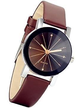 lancardo Damen schwarz runden Zifferblatt Uhr Lederband Quarz-Armbanduhr (braun)