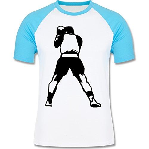 Kampfsport - Boxen - zweifarbiges Baseballshirt für Männer Weiß/Türkis