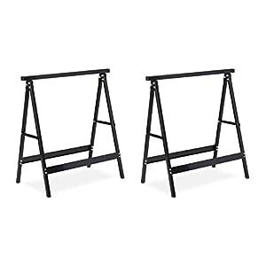 Relaxdays, Negro, Pack 2 Caballetes para Mesa y Trabajos de Bricolaje Plegables, Acero, 75 cm de Alto