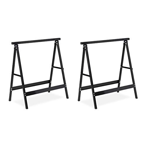 Relaxdays Pack 2 Caballetes para Mesa y Trabajos de Bricolaje Plegables, Acero, Negro, 75 cm de Alto