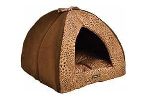 nanook Hunde-Höhle Katzen-Höhle SAFARI, für kleine Hunde, Katzen und Klein-Tiere Größe S, braun Leoparden-Muster
