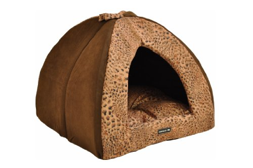 hundeinfo24.de nanook Hunde-Höhle Katzen-Höhle SAFARI, für kleine Hunde, Katzen und Klein-Tiere Größe S, braun Leoparden-Muster