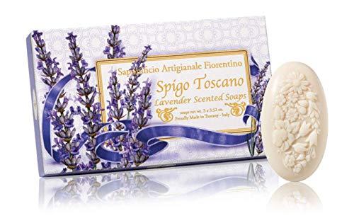 Lavanda, saponi ovali scolpiti con bouquet di fiori, confezione da 3 saponi scolpite, 3 x 100 grammi