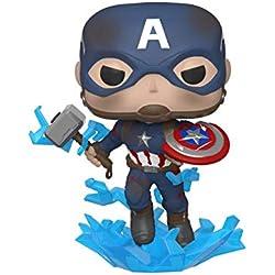 Funko- Pop Marvel: Endgame-Captain America w/BrokenShield & Mjolnir Capt A w/BrokenShield&Mjolnir Collectible Toy, (45137)