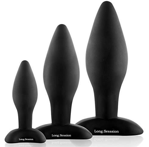 LONG.SESSION Premium Analplug Set aus hautfreundlichem Silikon für Frauen und Männer in drei Größen Ø2,8cm Ø4,0cm Ø4,5cm