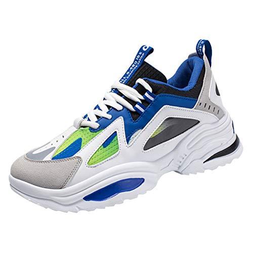 CUTUDE Fashion Herren Laufschuhe Air Sportschuhe Turnschuhe Running Fitness Freizeitschuhe Atmungsaktive Schnürer Laufschuhe (Blau, 40 EU)