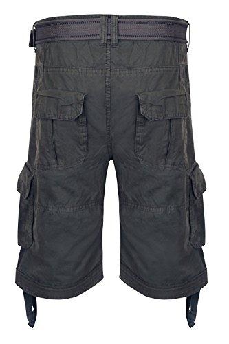 Shorts Hommes Dissident Cargo Combat Longueur Genou Ceinture Militaire DécontractéÉté Neuf Anthracite - 1G8851
