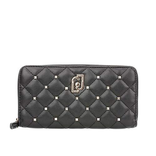 Portafoglio donna liu-jo zip around xl in ecopelle trapuntato nero con strass a20lj01