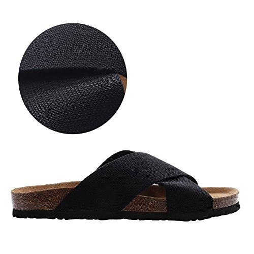 VVFamily  Women Flat Sandals,  Mädchen Damen Herren Plateau Schwarz