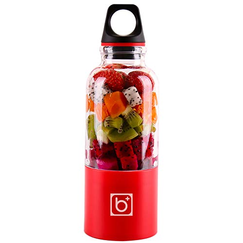HWL Fruit Juicer Electric, 500 Ml 4-Blatt Tragbare Mixer Juicer Maschine Mixer Elektro-Mini USB-Küchenmaschine Entsafter Smoothie Blender Cup-Hersteller-Saft,Rot