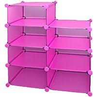 Preisvergleich für ts-ideen Büro Flur Kinder Regal Schrank Steckregal CD Regal Bücherregal in Pink Rosa Transparent