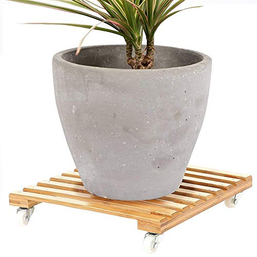 Cozyhoma 30,5 cm rollender Holz-Pflanzkübel mit 360 ° drehbaren Rollen, rollende Pflanzen, Dolly...