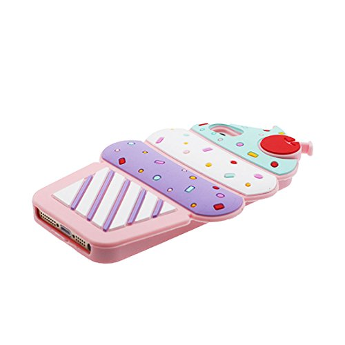 iPhone 5S Custodia, morbida guarnizione TPU in gomma antigraffio protettiva Case copertura per iPhone 5 SE 5C 5G Cover + tappi antipolvere / Cartoon Progettato 3D ciliegia Gelato Fashion Color 1