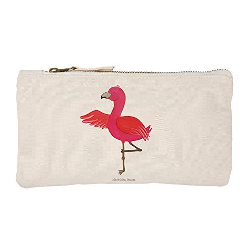 Mr. & Mrs. Panda Federmappe, Etui, S Schminktasche Flamingo Yoga - Farbe Weiß