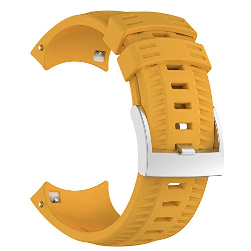 XIHAMA Strap for Suunto 9,Soft Silicone Sport Smart Watch Replacement Band Fitness Wristband Bracelet (yellow) (9-uhr-band)