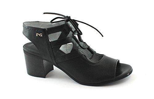 Nero Giardini 05720 Schwarze Schuhe Frau Ledersandalen Fersenschnürsenkel Nero
