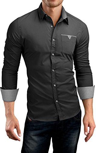 Grin&Bear Slim Fit Shirt Hemd Herrenhemd Button Down Kontrast Pocket Schwarz S SH524524 -