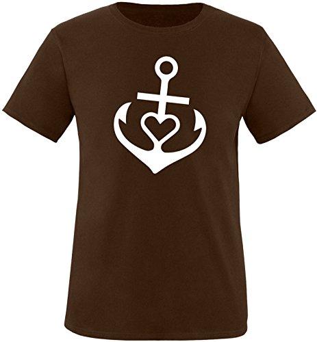 EZYshirt® Anker mit Herz Herren Rundhals T-Shirt Braun/Weiss