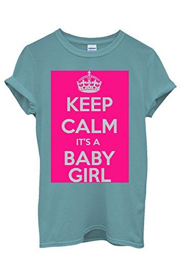Keep Calm it is a Baby Girl Maternity Men Women Femme Homme Unisex Top T Shirt Bleu
