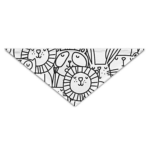 Hectwya Pet Bandanas Niedliche einfache Linien Tier Lion Owl PrintingDog Geburtstag Pet Bandana Halsbänder für Hunde und Katzen