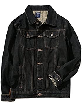 Zhhlinyuan Moda Mens Classic Black Denim Jean Jacket Basic Denim Outerwear