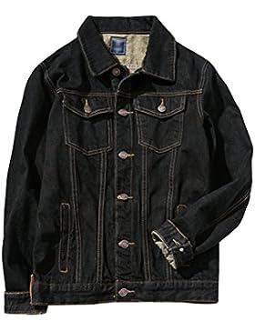 Zhhlinyuan Moda Mens Classic Black Denim Jean Jacket Basic Denim Outerwear