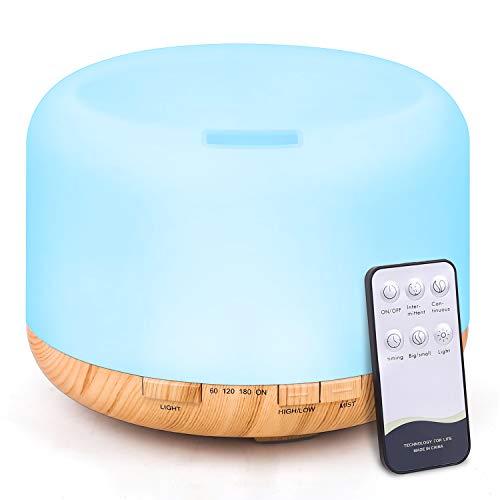Tenswall diffusore di aromi con telecomando, 500ml ultrasuoni umidificatore diffusore oli essenziali,7 colori led,2 modo di nebbia,4 impostazioni timer,auto spegnimento per yoga, spa, ufficio, casa