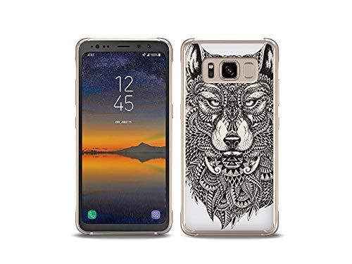etuo Handyhülle für Samsung Galaxy S8 Active - Hülle, Silikon, Gummi Schutzhülle Fantastic Case - Azteken Wolf
