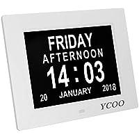 "U-want Dementia Clocks 7"" Calendar Clock Day Date Clock Digital Clock with Large Clear Digits Display, Alarm Clock With HD Digital Photo Frame (7"" White)"