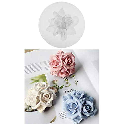Diy Craft Supplies - 3d Three Rose Flowers Silicone Mold Fondant Cake Resin Craft Diy Amora Gypsum Silicon Mould Plaster - Kids Supplies Craft Adults