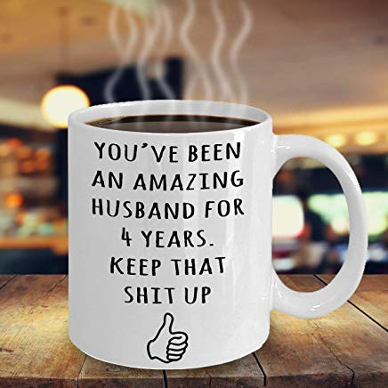 LECE 4 Year Anniversary Gift For Husband, 4th Anniversary Present For Him,  Married Four Years, 4th Wedding Anniversary Mug, Funny Marriage Gift