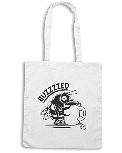 T-Shirtshock - Borsa Shopping FUN1028 Coffee Buzzed hoodie detail Bianco